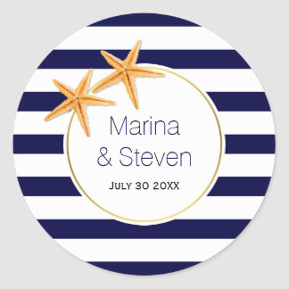 Brown white stripes and maple leaf fall wedding classic round sticker
