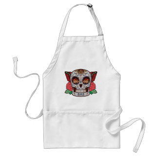 Brown White Tattoo Sugar Skull Pink Roses Adult Apron