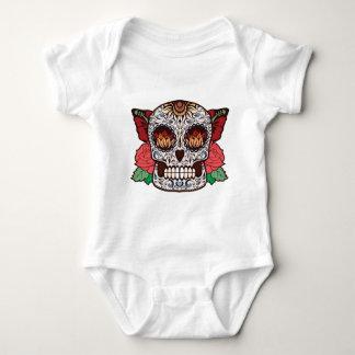Brown White Tattoo Sugar Skull Pink Roses Baby Bodysuit
