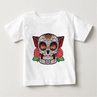 Brown White Tattoo Sugar Skull Pink Roses Baby T-Shirt
