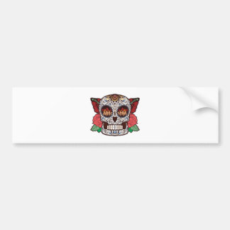 Brown White Tattoo Sugar Skull Pink Roses Bumper Sticker