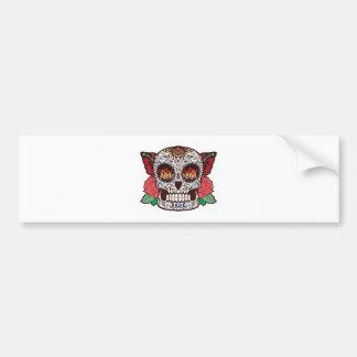 Brown White Tattoo Sugar Skull Pink Roses Bumper Sticker