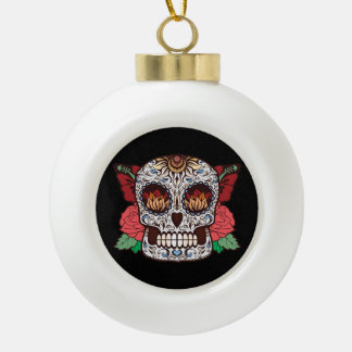 Brown White Tattoo Sugar Skull Pink Roses Ceramic Ball Christmas Ornament