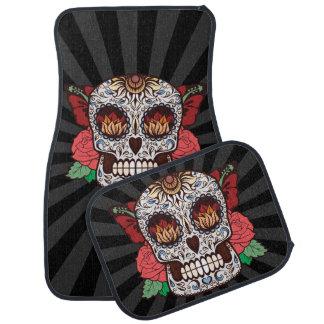 Brown White Tattoo Sugar Skull Pink Roses Floor Mat