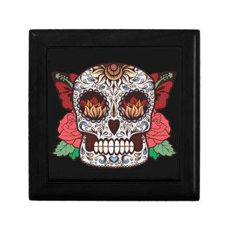 Brown White Tattoo Sugar Skull Pink Roses Gift Box