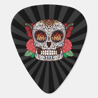 Brown White Tattoo Sugar Skull Pink Roses Guitar Pick