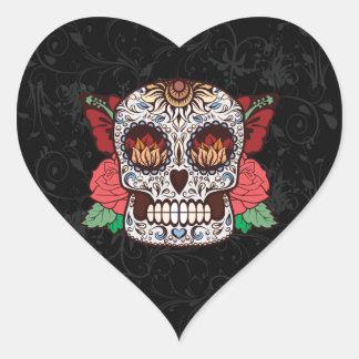 Brown White Tattoo Sugar Skull Pink Roses Heart Sticker