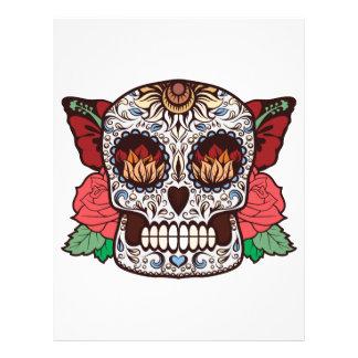 Brown White Tattoo Sugar Skull Pink Roses Letterhead
