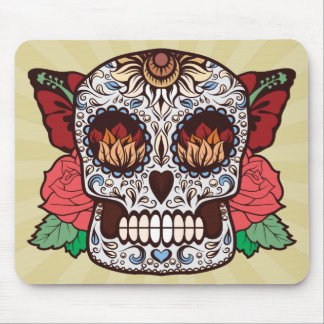 Brown White Tattoo Sugar Skull Pink Roses Mouse Pad