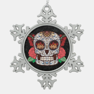 Brown White Tattoo Sugar Skull Pink Roses Snowflake Pewter Christmas Ornament