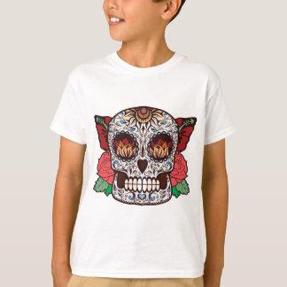 Brown White Tattoo Sugar Skull Pink Roses T-Shirt