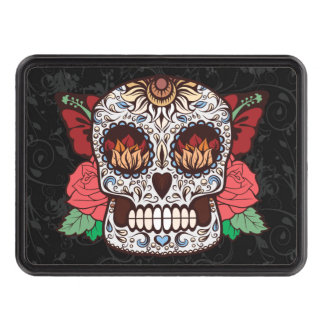 Brown White Tattoo Sugar Skull Pink Roses Tow Hitch Covers