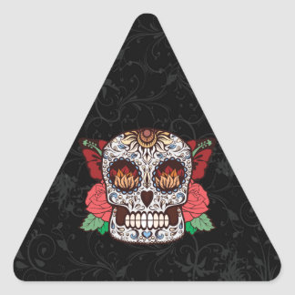 Brown White Tattoo Sugar Skull Pink Roses Triangle Sticker