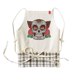 Brown White Tattoo Sugar Skull Pink Roses Zazzle HEART Apron
