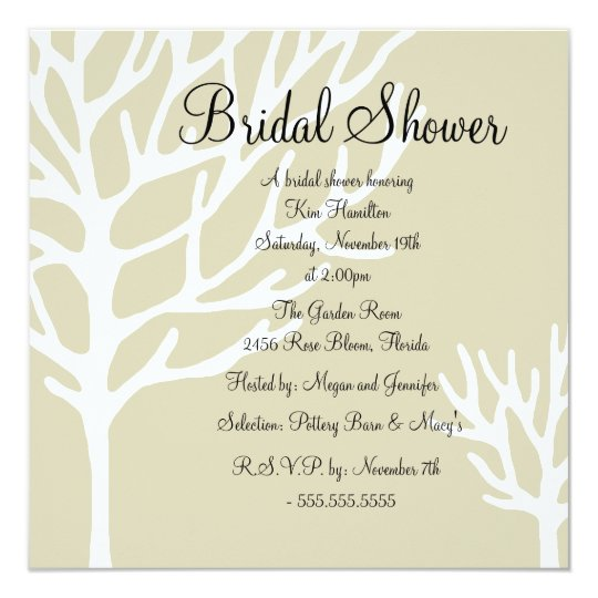 Brown & White Tree Design Bridal Shower Invitation