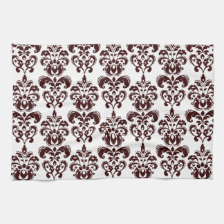 BROWN WHITE VINTAGE DAMASK PATTERN 2 KITCHEN TOWEL