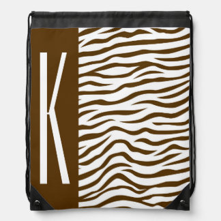 Brown & White Zebra Stripes Animal Print Cinch Bags