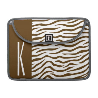 Brown & White Zebra Stripes Animal Print Sleeve For MacBooks