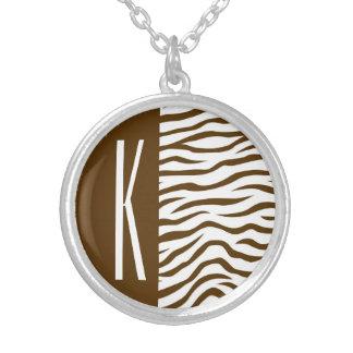 Brown & White Zebra Stripes Animal Print Necklaces