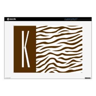 Brown & White Zebra Stripes Animal Print Skin For Laptop