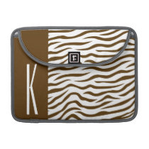 Brown & White Zebra Stripes Animal Print Sleeve For MacBook Pro