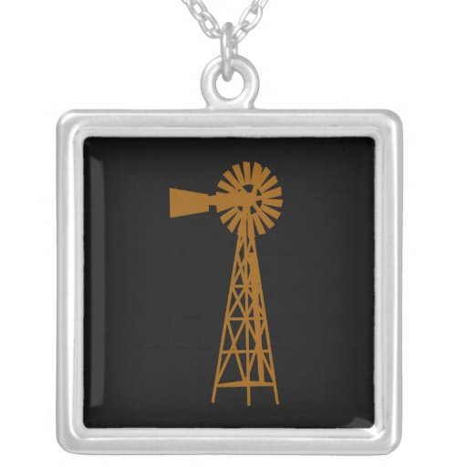 Brown Windmill.png Square Pendant Necklace