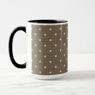 Brown With Light Blue Polka Dots Mug