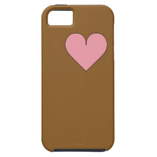 Brown with Pink Heart iPhone Case