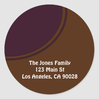 brown with purple circle classic round sticker