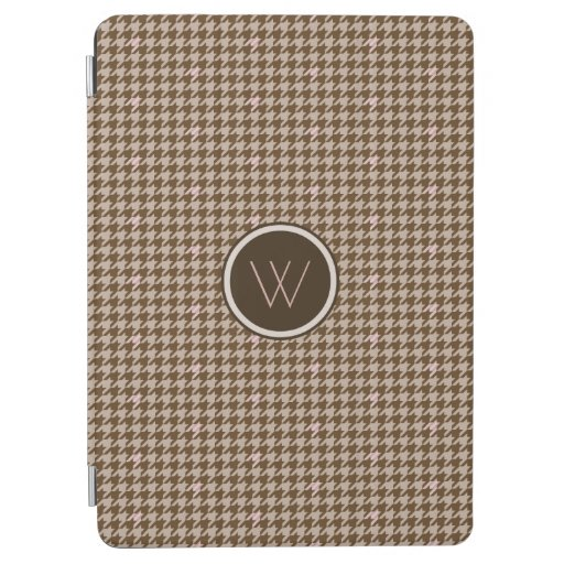 Brown with Rose Gold Accent Houndstooth iPad Cover