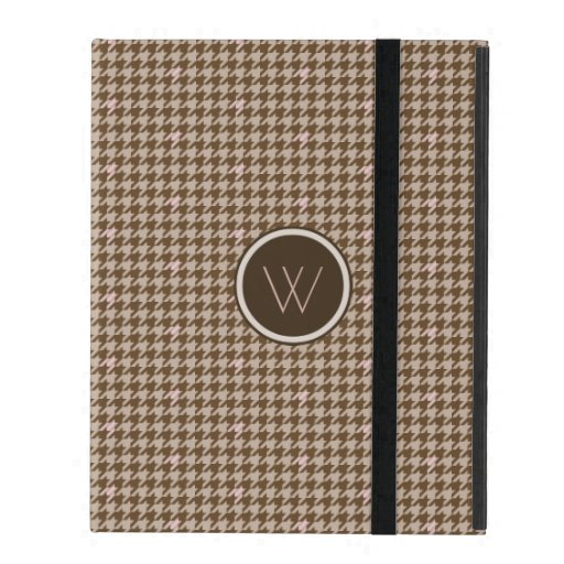 Brown with Rose Gold Houndstooth iPad Powis Case