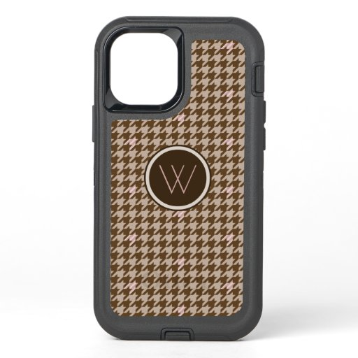 Brown with Rose Gold Houndstooth Otterbox Case