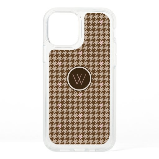 Brown with Rose Gold Houndstooth Speck Phone Case