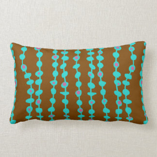 Brown With Teal Baubles Pattern Lumbar Pillow