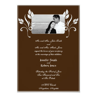 Brown with White Floral Accents Wedding Invitation