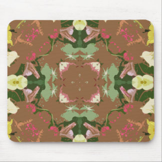 Brown with yellow flower mandal mouse pad