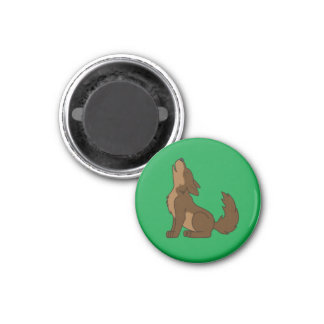 Brown Wolf Pup Howling 1 Inch Round Magnet