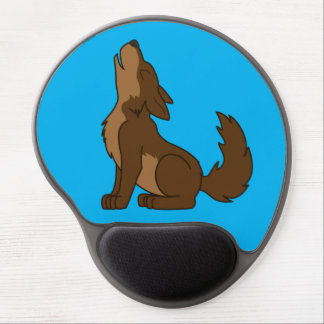 Brown Wolf Pup Howling Gel Mouse Pad
