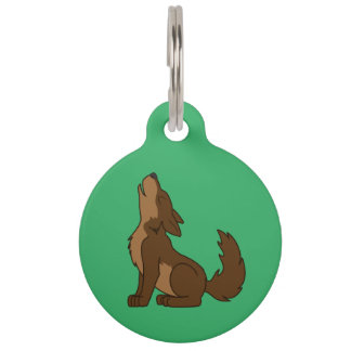 Brown Wolf Pup Howling Pet Name Tag