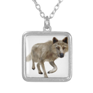 Brown Wolf Square Pendant Necklace