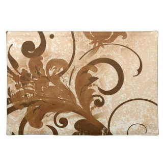 Brown wood carved flower swirls cloth placemat