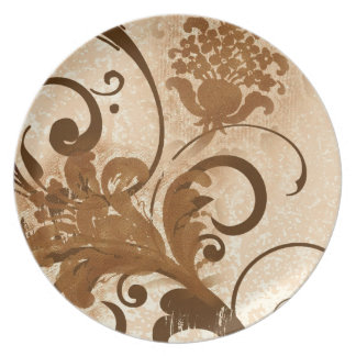 Brown wood carved flower swirls dinner plate