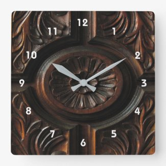 Brown Wood Carving Clock