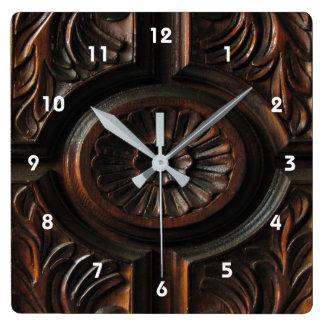 Brown Wood Carving Clock