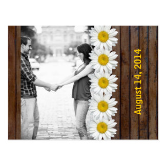 Brown Wood Daisy Chain Photo Save the Date Postcard