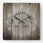 Brown Wood Farmhouse Family Name Square Wall Clock