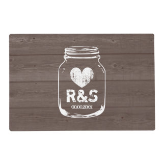 Brown wood grain mason jar rustic wedding placemat