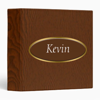 Brown Wood Grain Monogram Binder