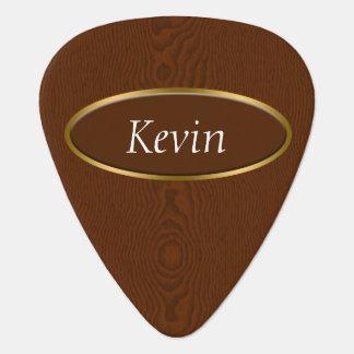 Brown Wood Grain Monogram Guitar Pick