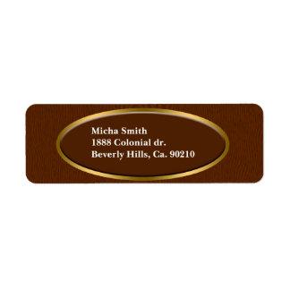 Brown Wood Grain Monogram Label